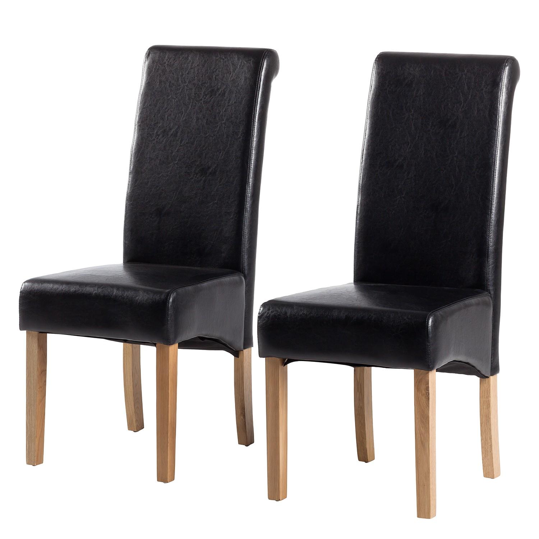 Gestoffeerde stoelen Nello (2-delige set) - kunstleer - Zwart, mooved