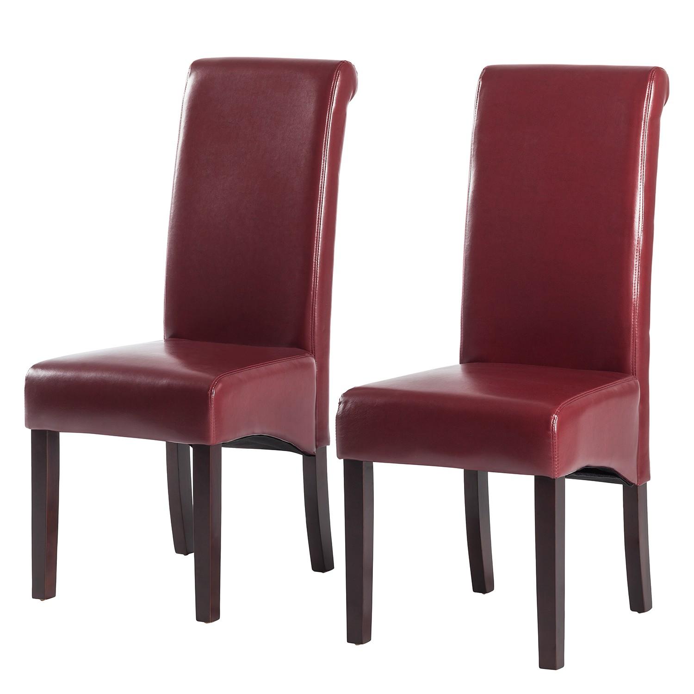 Gestoffeerde stoelen Nello (2-delige set) - geregenereerd leer - Schoorsteen rood, mooved