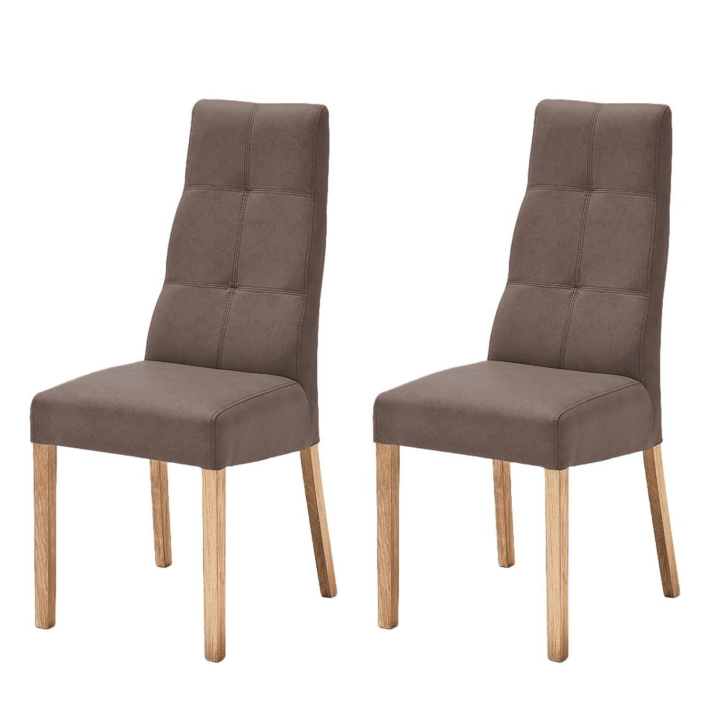 Gestoffeerde stoelen Paki (2-delige set) - kunstleer - Bruin/eikenhoutkleurig, roomscape