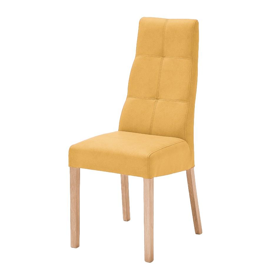 Gestoffeerde stoelen Paki (2-delige set) - kunstleer - Currygeel/natuurlijk beukenhoutkleurig, roomscape