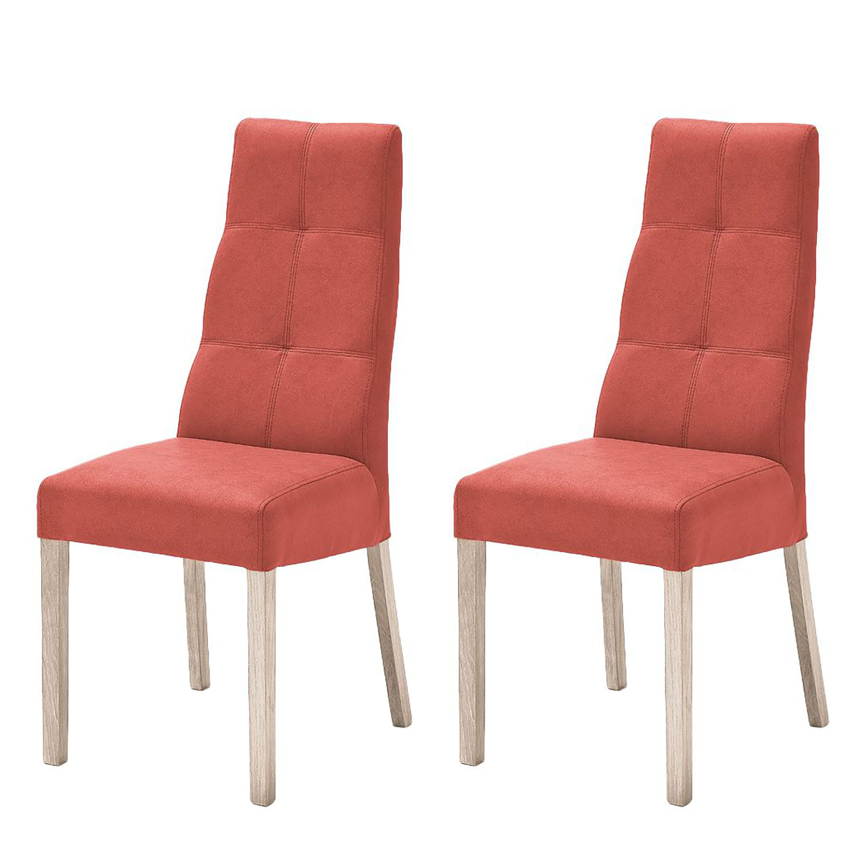 Gestoffeerde stoelen Paki (2-delige set) - kunstleer - Rood/Sonoma eikenhout, roomscape