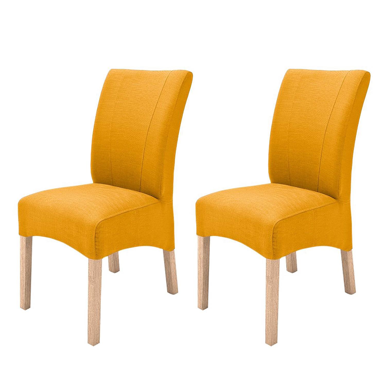 Gestoffeerde stoelen Sarpsborg (2-delige set) - geweven stof - Currygeel/natuurlijk beukenhoutkleurig, roomscape