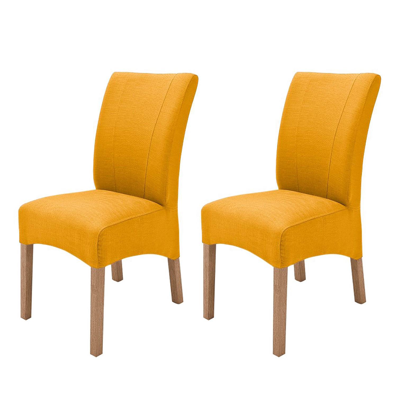 Gestoffeerde stoelen Sarpsborg (2-delige set) - geweven stof - Kerriegeel/eikenhoutkleurig, roomscape