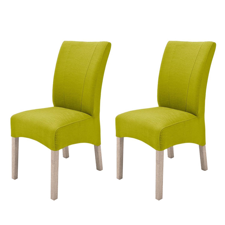 Gestoffeerde stoelen Sarpsborg (2-delige set) - geweven stof - Kiwigroen/Sonoma eikenhoutkleurig, roomscape