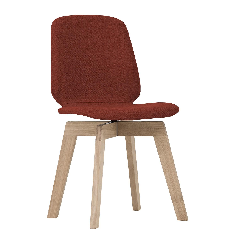 Gestoffeerde stoelen Stig II (2-delige set) - geweven stof/massief eikenhout - Eik - Stof Vesta Rood, Studio Copenhagen