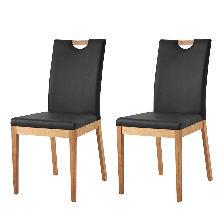 Gestoffeerde stoel Talagante - echt leer - Zwart, Naturoo