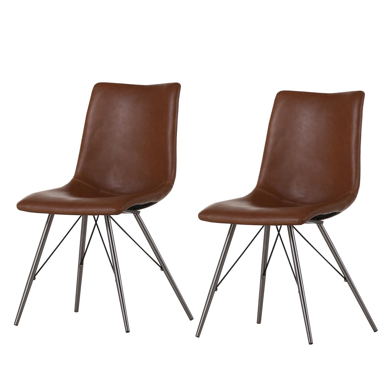 chaise rembourr e telford lot de 2 imitation cuir acier inoxydable marron ars manufacti. Black Bedroom Furniture Sets. Home Design Ideas