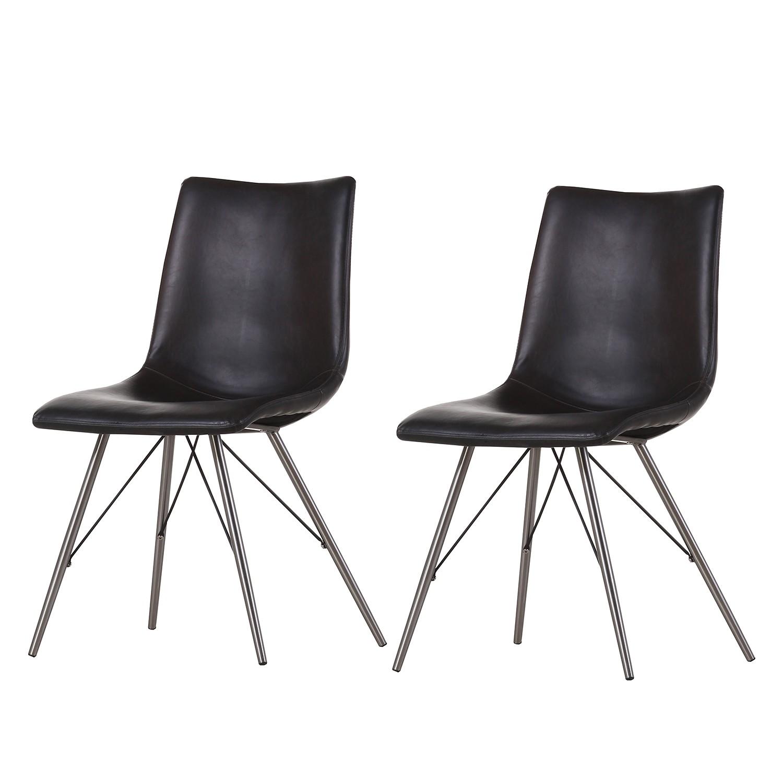 chaise rembourr e telford lot de 2 imitation cuir acier inoxydable noir ars manufacti. Black Bedroom Furniture Sets. Home Design Ideas