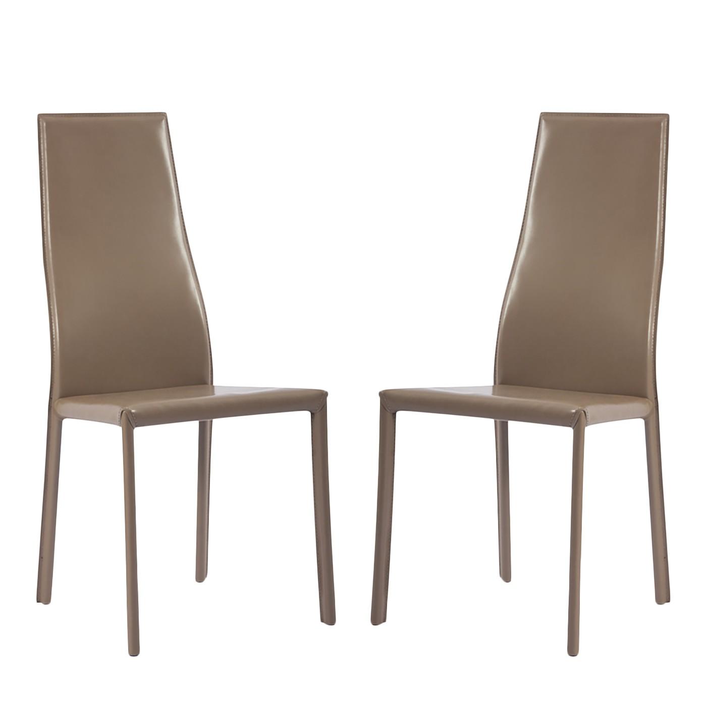 Gestoffeerde stoelen Valentina (2-delige set) - kunstleer - Ledervezels Elsu I Lichtbruin, Fredriks