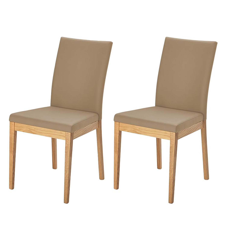 Gestoffeerde stoel Vallenar II - echt leer - Beige, Ars Natura