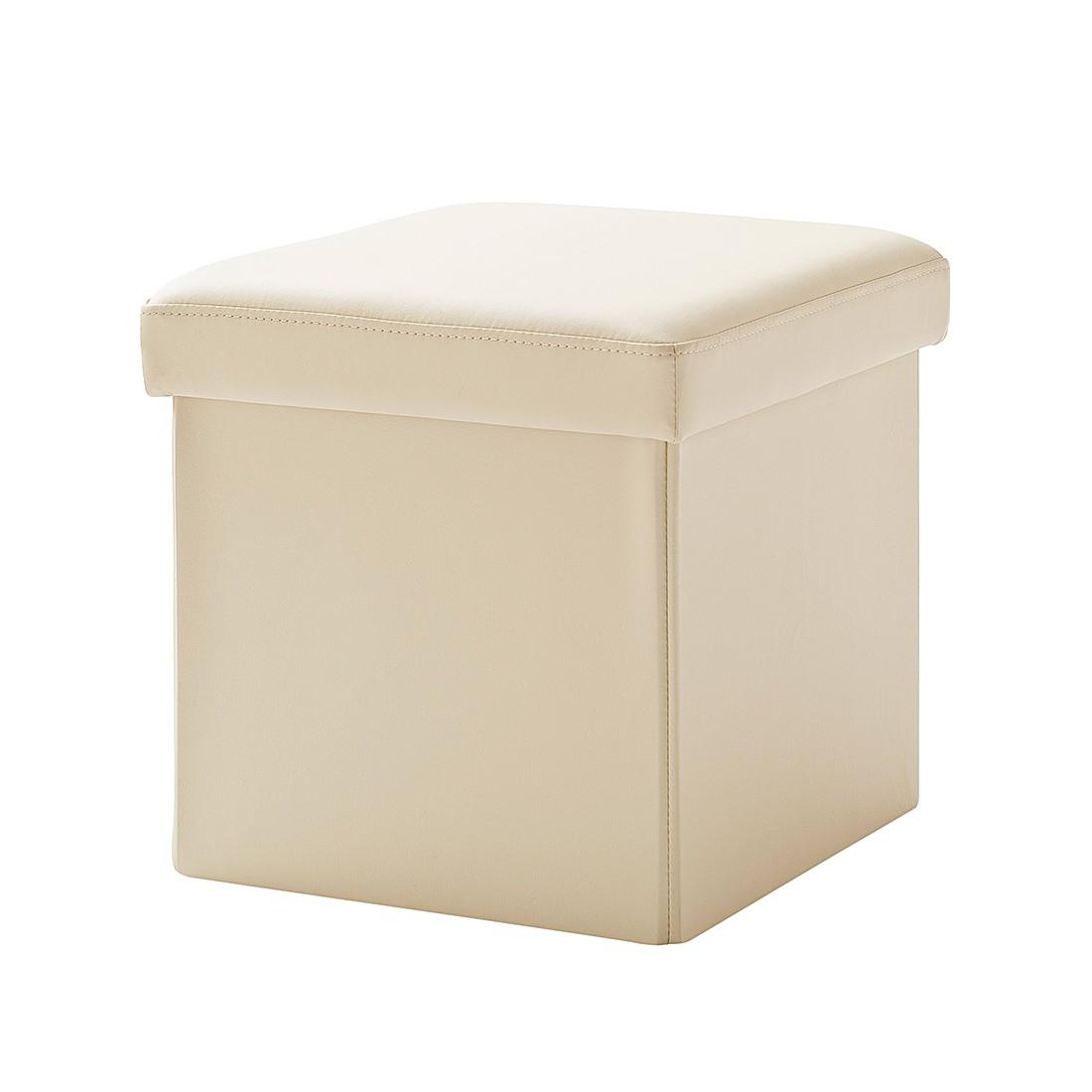 Gestoffeerde zitkubus Cube (met deksel) - kunstleer - beige, meise möbel