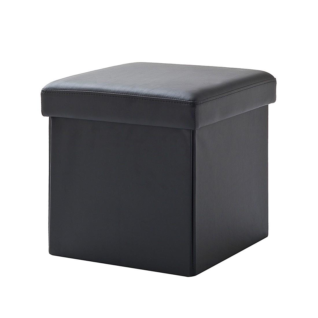 Gestoffeerde zitkubus Cube (met kurk) - kunstleer - zwart, meise möbel
