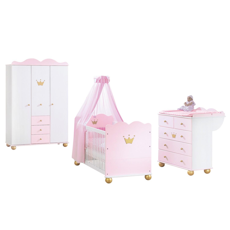 Prinses Karolin babykamerset 3 delig  Babybed_ commode en kledingkast   Massieve fijnspar   Wit Roze gebeitst_ Pinolino