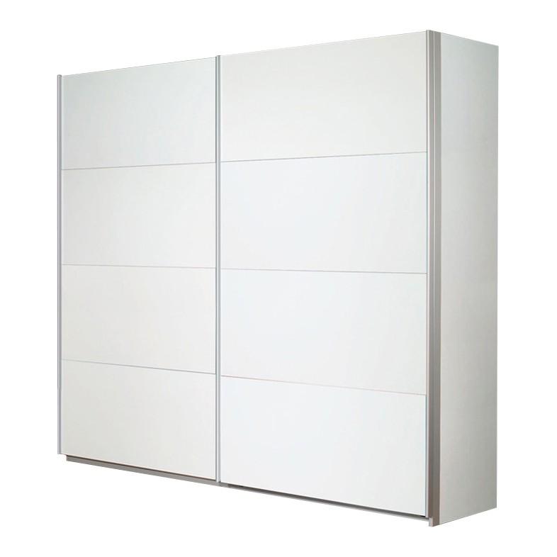 Schuifdeurkast Quadra II - Alpinewit - 136cm (2-deurs) - 210cm, Rauch
