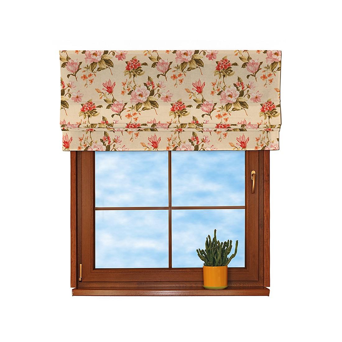 Image of Tenda a pacchetto - Beige con fiori grandi Tenda a rollo - beige con fiori grandi - 130x170 cm, Dekoria