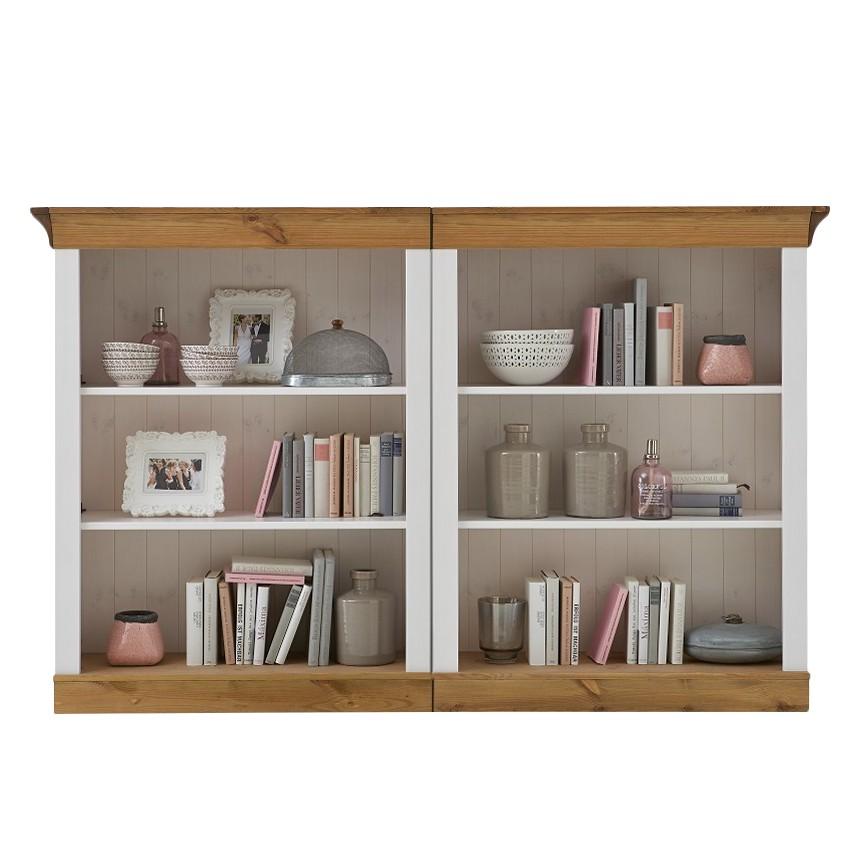 Bibliothèque Bergen III - Pin massif - Blanc / Lessivé, Maison Belfort