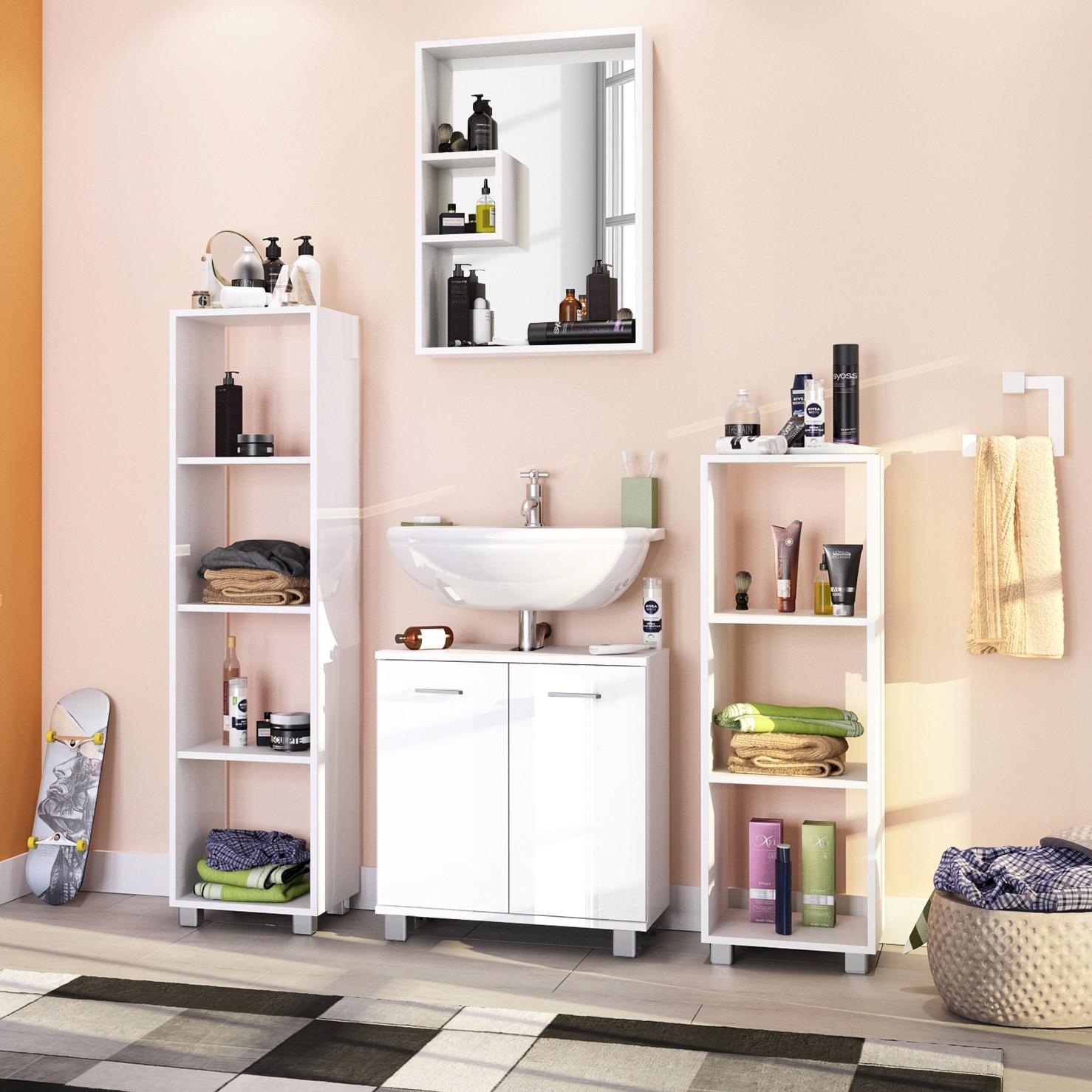badezimmerset box 4 teilig hochglanz wei wei schildmeyer g nstig schnell einkaufen. Black Bedroom Furniture Sets. Home Design Ideas