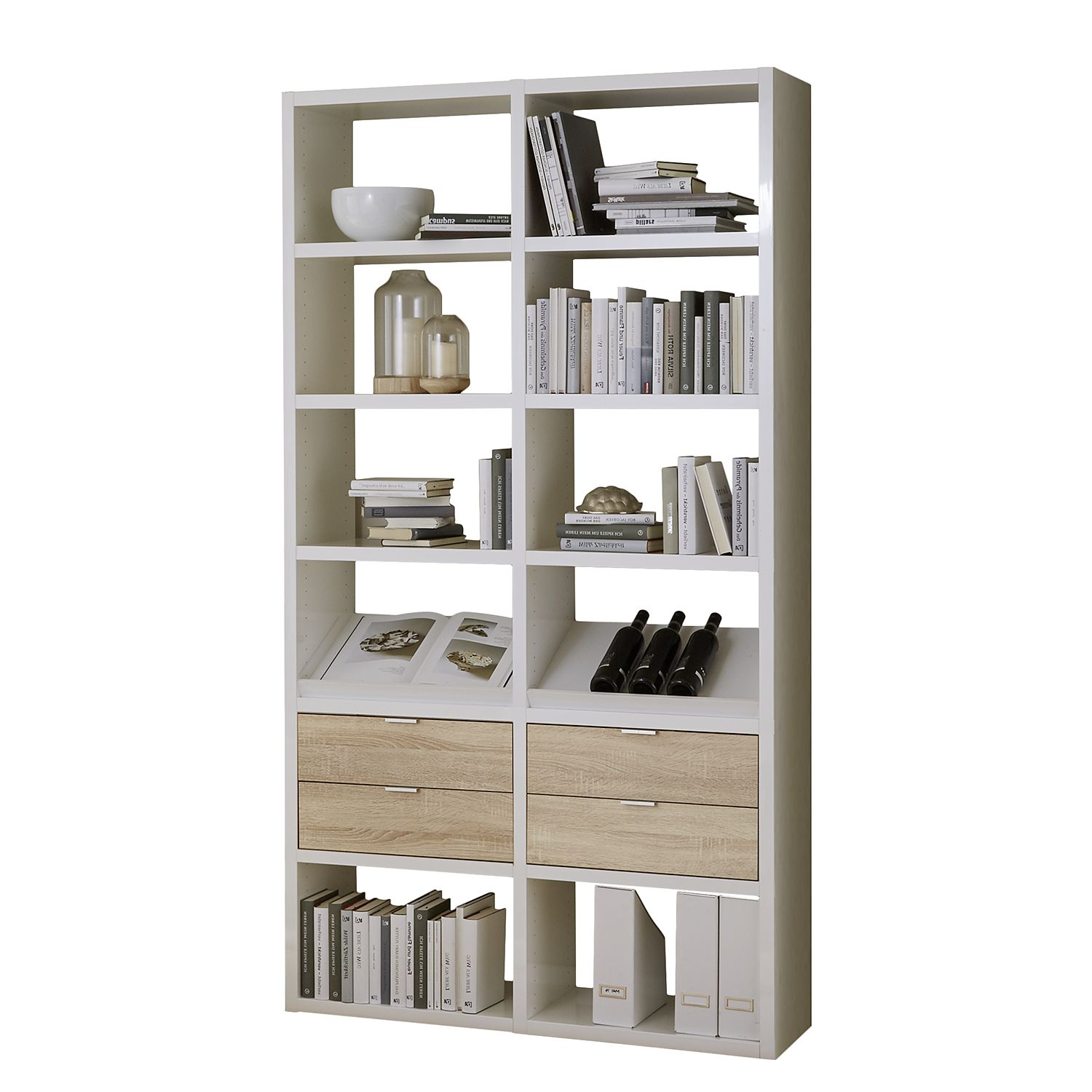 regal concept ix hochglanz wei eiche dekor g nstig. Black Bedroom Furniture Sets. Home Design Ideas