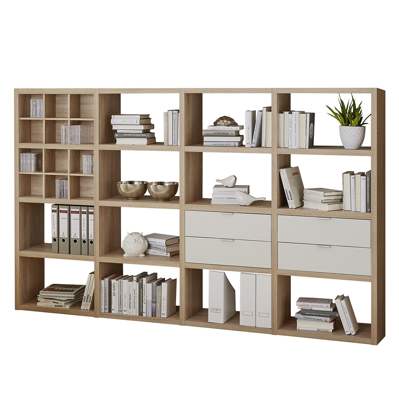 Open kast Concept VI - Eikenhouten look/wit, loftscape