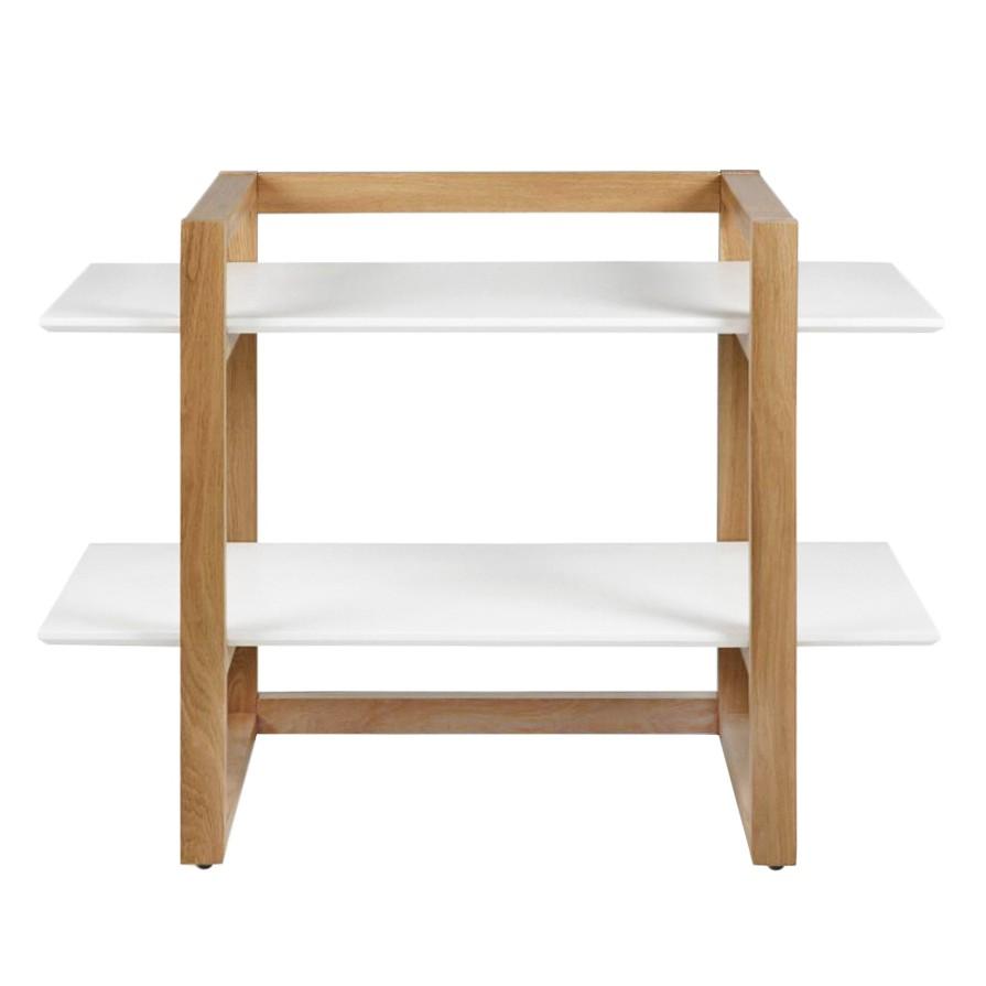 Scaffale Kumano I - Parzialmente in legno massello di quercia Bianco opaco, Morteens