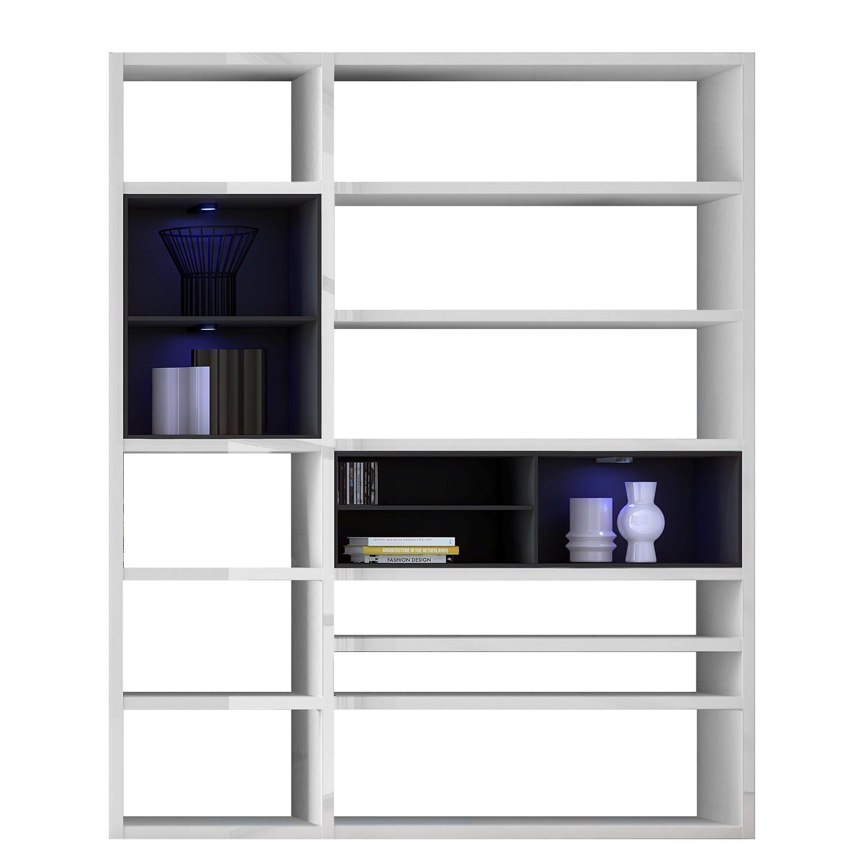 Home 24 - Eek a+, etagère emporior ii.b - blanc / noir - eclairage rvb - blanc brillant / noir, loftscape