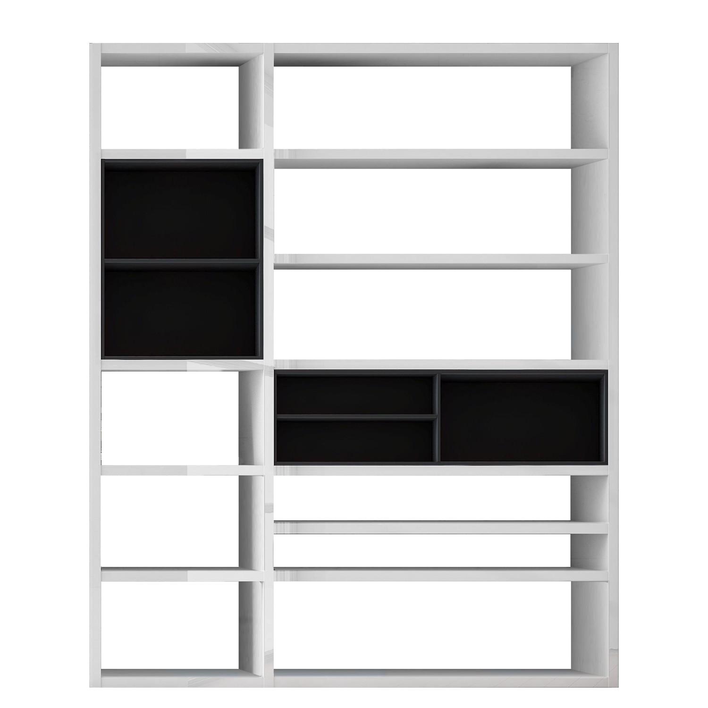 Kast Emporior II.B - wit/zwart - Zonder verlichting - Hoogglans wit/zwart, loftscape