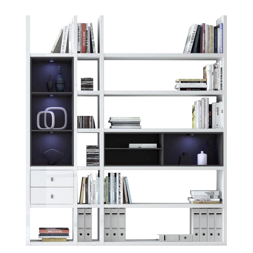 EEK A+, Etagère Emporior III.B - Blanc / Noir - Eclairage RVB - Blanc brillant / Noir, loftscape
