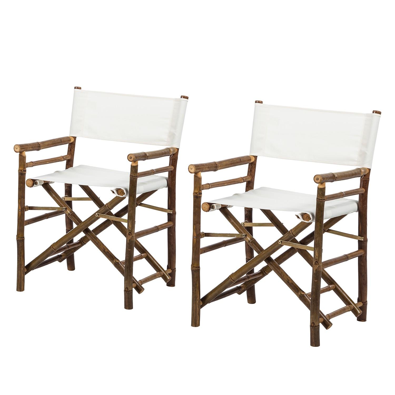 Regiestuhl Bamboo (2er-Set) - Bambus massiv / Textil - Weiß, ars manufacti