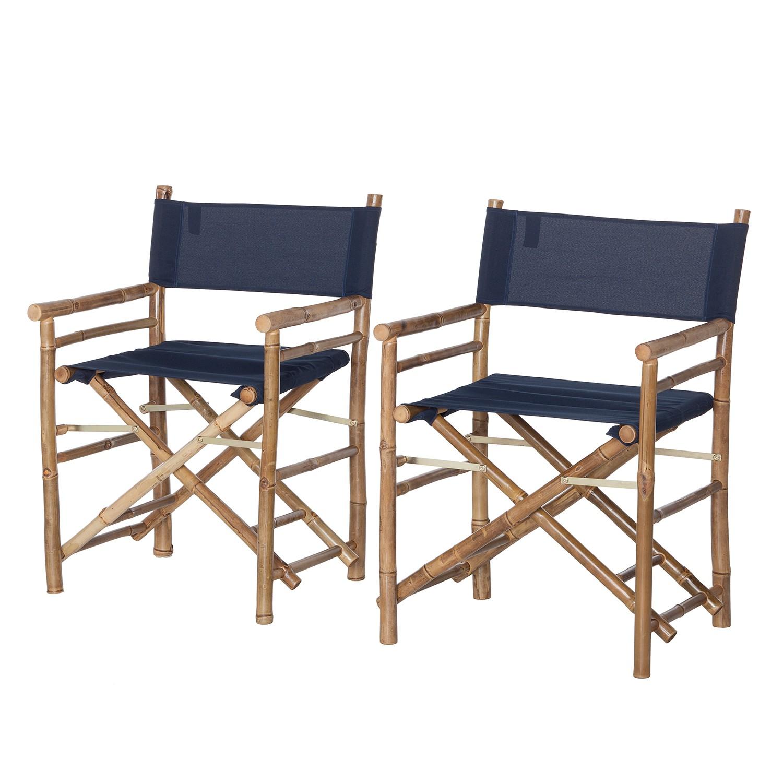 Regiestuhl Bamboo II (2er-Set) - Bambus massiv / Textil - Navy Blau, ars manufacti