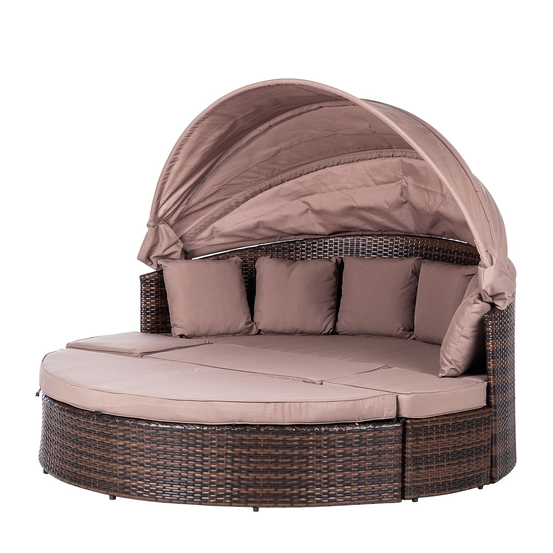 Salon de jardin modulable Riva - Polyrotin / Textile marron Taupe, Merxx