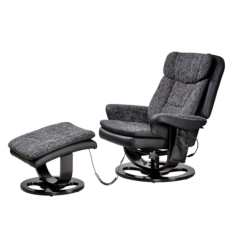 Fauteuil de relaxation Arans (avec repose-pieds) - Imitation cuir / Tissu Noir, Nuovoform