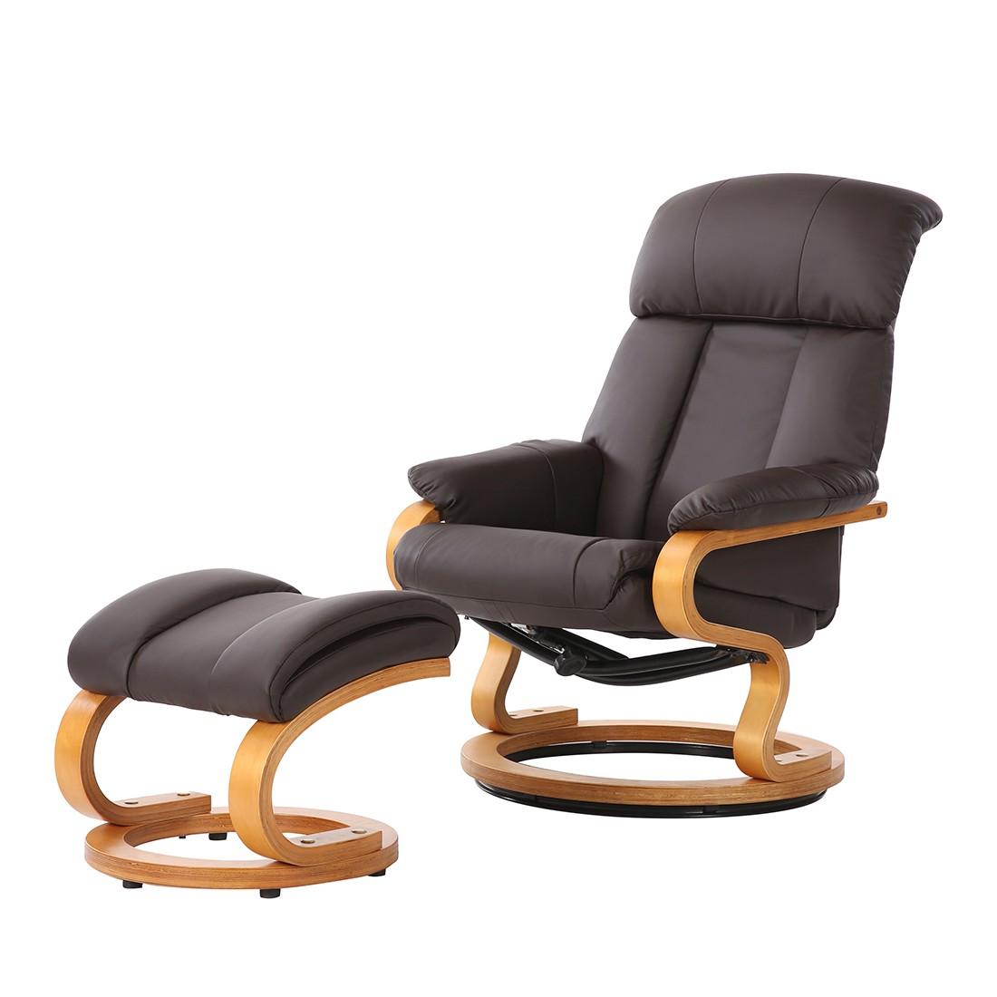 Fauteuil de relaxation Barosa (avec repose-pieds) - Imitation cuir - Marron, Nuovoform