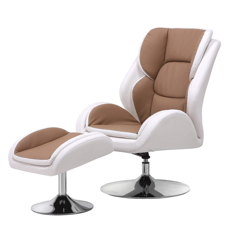 Fauteuil de relaxation Bea (avec repose-pieds) - Imitation cuir - Marron / Blanc, Nuovoform
