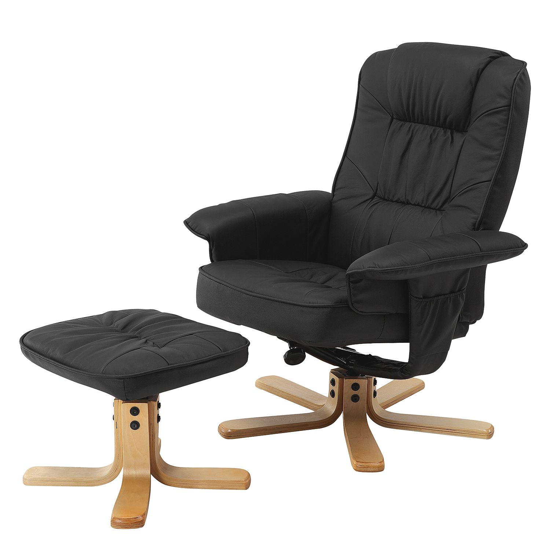Fauteuil de relaxation Canillo I (avec repose-pieds) - Cuir véritable - Noir, roomscape