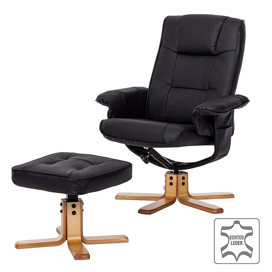 Fauteuil de relaxation Cosimo (avec repose-pieds) - Cuir synthétique noir, mooved