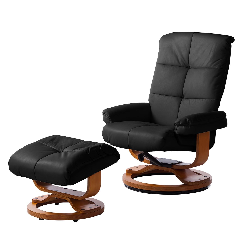 Fauteuil de relaxation Tennesse (avec repose-pieds) Cuir véritable - Noir, Modoform