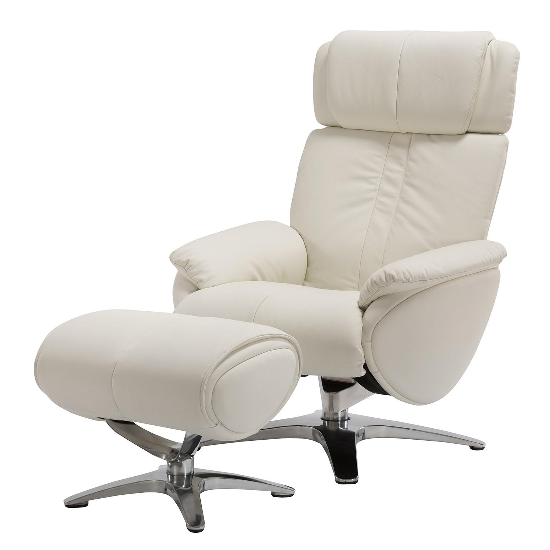 Fauteuil de relaxation Kampen - Cuir véritable - Blanc - Avec repose-pieds, Fredriks