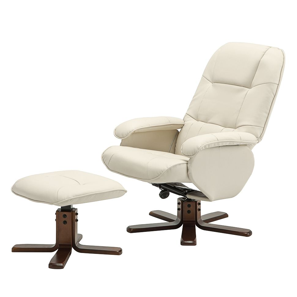 Fauteuil de relaxation Nagold (avec repose-pieds) Imitation cuir - Beige, Nuovoform