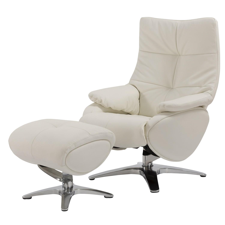 Fauteuil de relaxation Nordmark - Cuir véritable - Blanc - Avec repose-pieds, Fredriks
