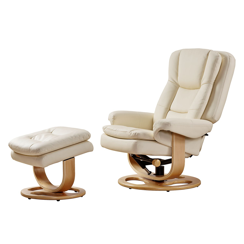 Home 24 - Fauteuil de relaxation parap (avec repose-pieds) - imitation cuir - beige, nuovoform