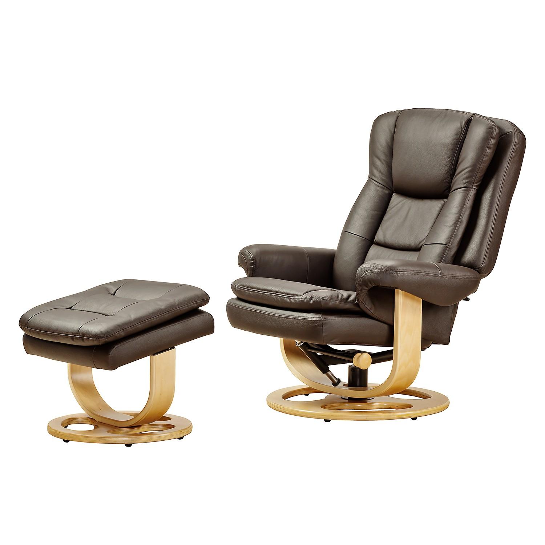 Fauteuil de relaxation Parap (avec repose-pieds) - Imitation cuir - Marron, Nuovoform