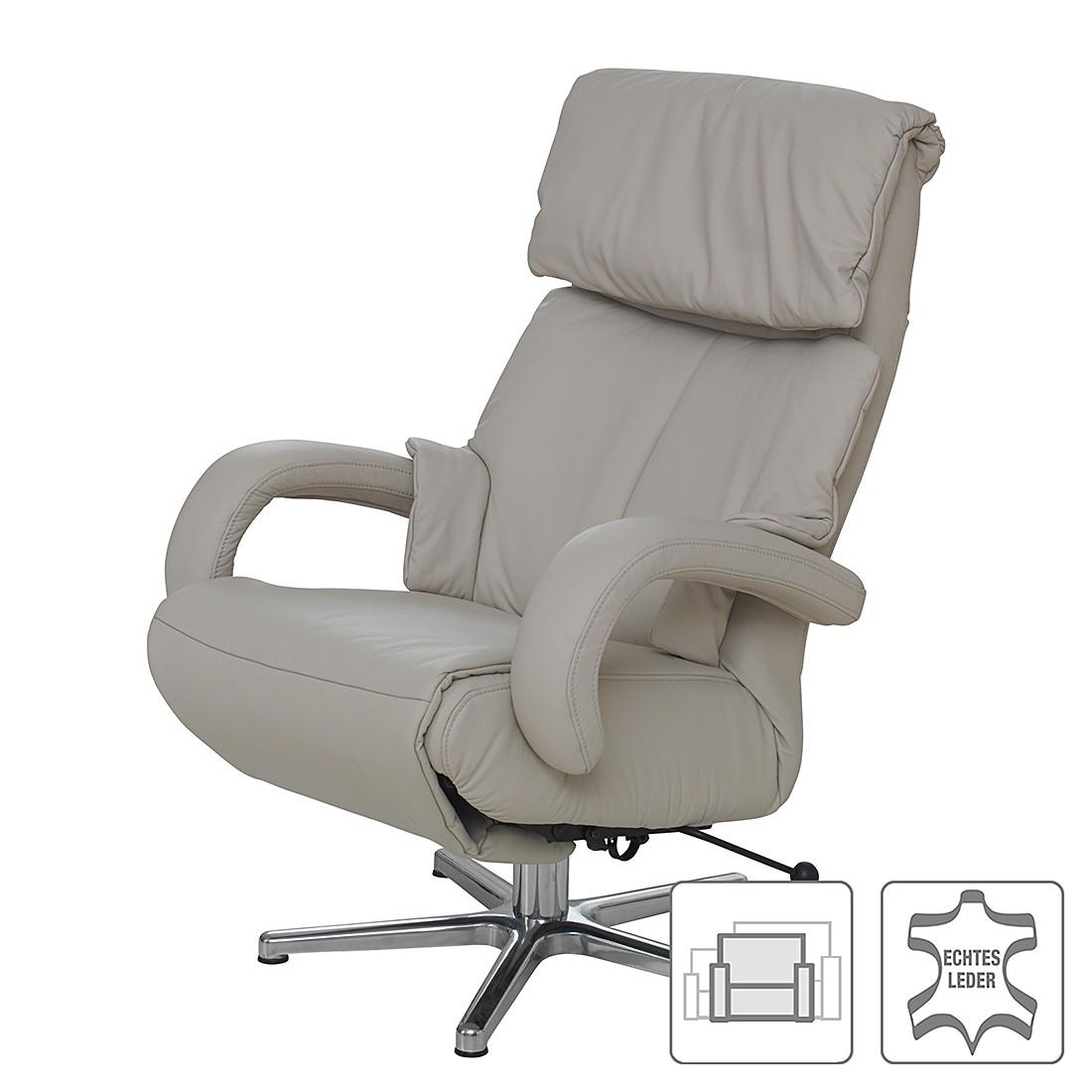 Fauteuil de relaxation Shuttle - Cuir véritable Gris - Réglage mécanique - M = jusqu'à 170 cm, trend