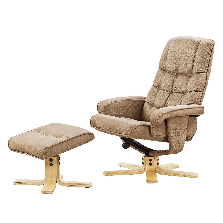 Fauteuil de relaxation Sund (avec repose-pieds) - Microfibre - Beige chaud, Nuovoform