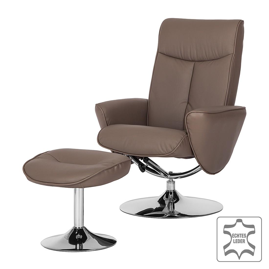 Relaxsessel Vincenzo (mit Hocker) - Echtleder Taupe, Modoform bei Home24 - Möbel