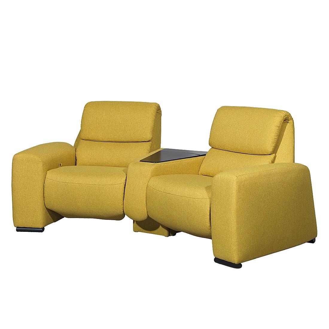 Canapé de relaxation Space (2 places) - Textile - Avec fonction relaxation - Jaune, trendline by Ada