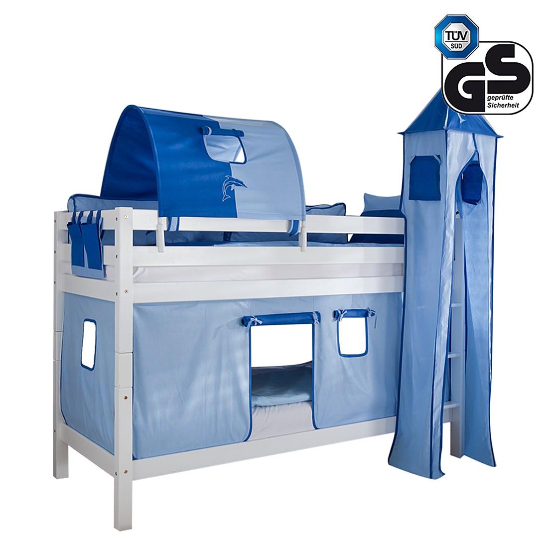 Etagenbett Beni - Buche massiv/Weiß mit Textilset Blau/Delfin, Relita