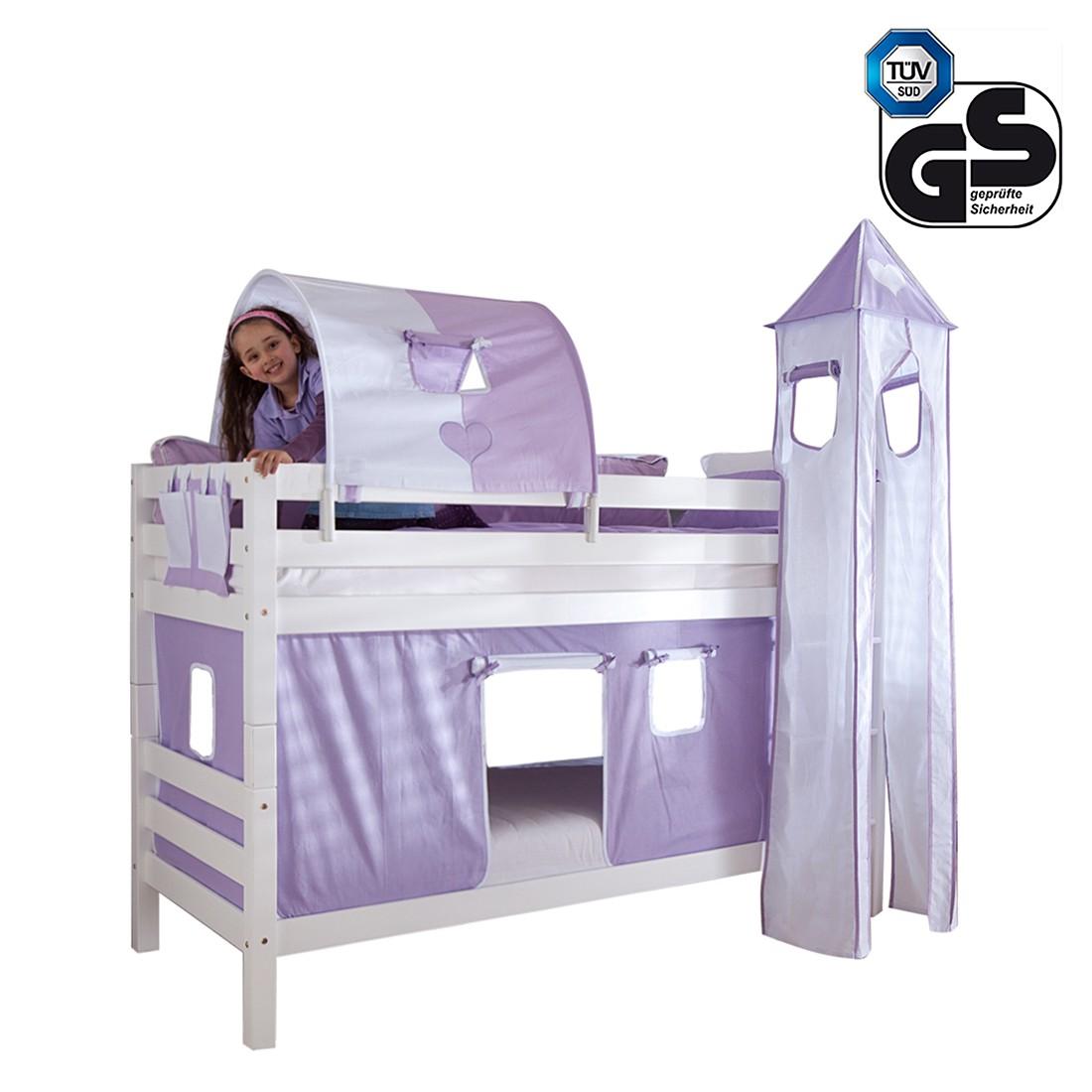 Etagenbett Beni - Buche massiv/Weiß mit Textilset Purple/Weiß/Herz, Relita
