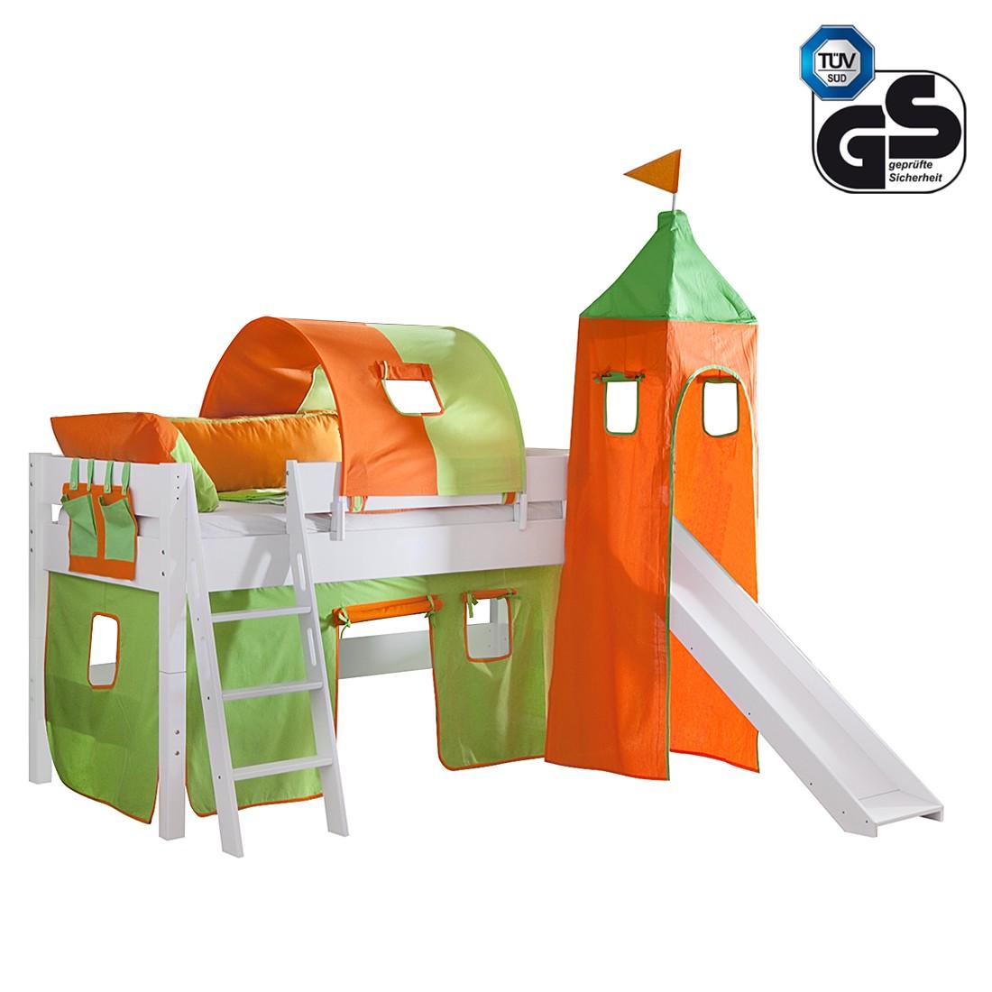 Halbhohes Spielbett Kim - Buche massiv/Weiß - Textilset Grün/Orange, Relita