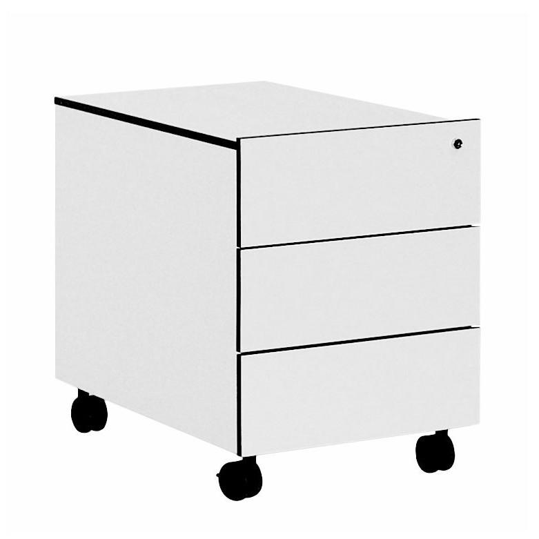 Home 24 - Caisson àÂÂ tiroirs sur roulettes bianconero - 3 blanc avec bords noirs, reinhard