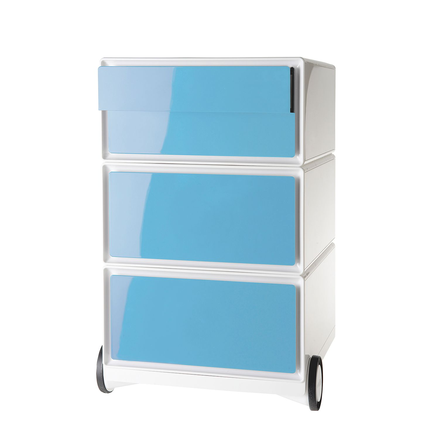 Rollcontainer easyBox II - Weiß / Hellblau, easy Office und Paperflow
